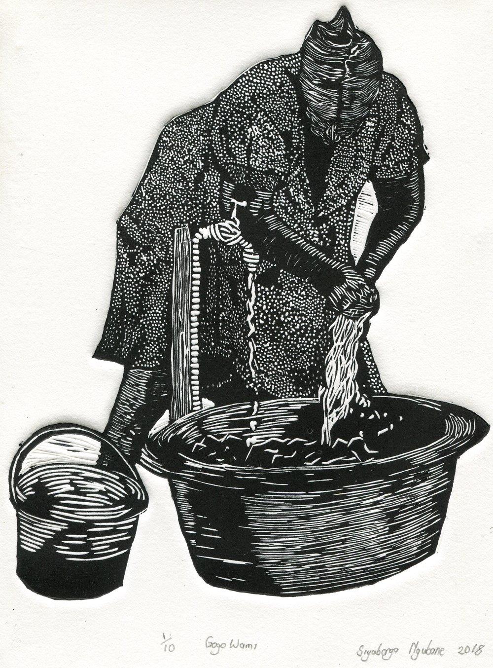 48b  Siyabonga Ngubane  Gogo wami  linocut print on paper