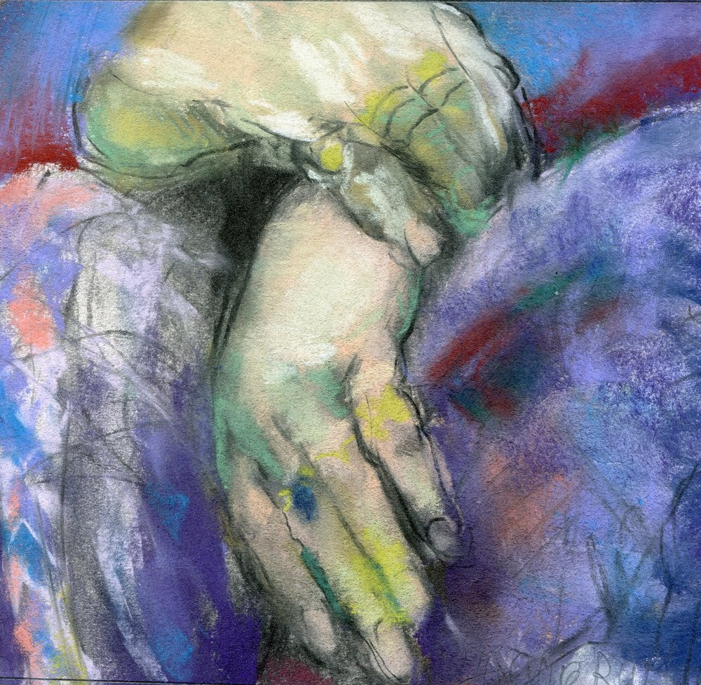 51b  Catherine Raphael  Jutta's hands  pastel on paper