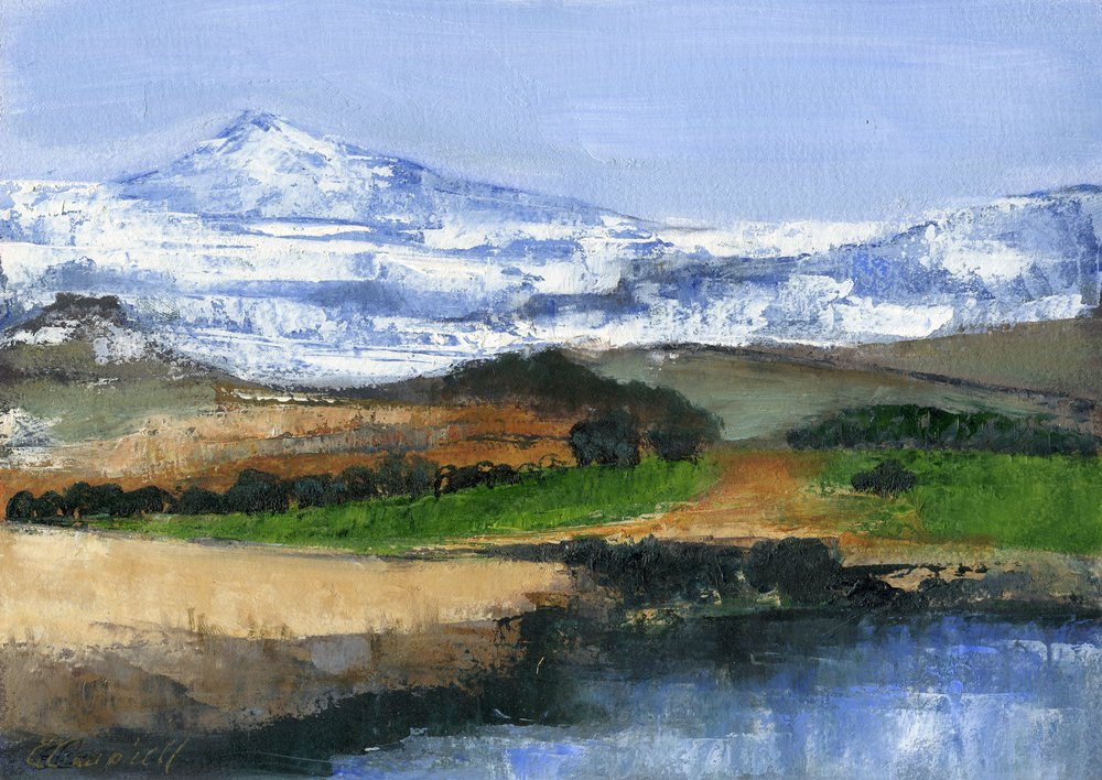 52b  Patricia Campbell  Mountain scene  oil on paper