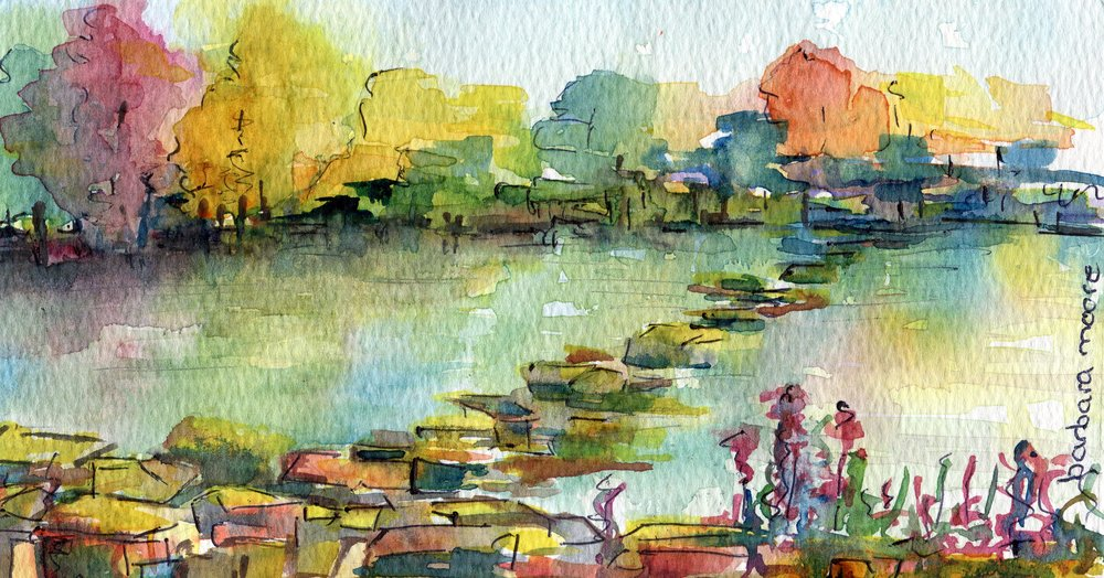 53a  Barbara Moore  Down by the River  watercolour on paper