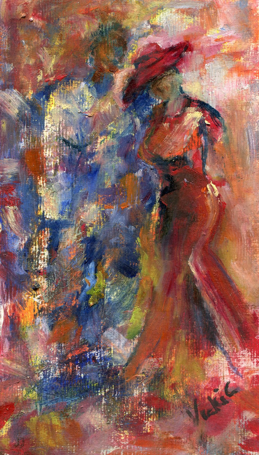 55b  Vicki Cressey  After the dance  acrylic and oil on canvas paper