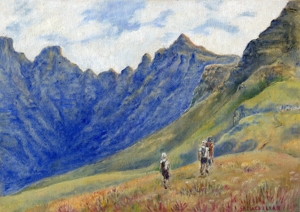 58a  Shirley MacKellar  Cathedral Peak hikers  oil on canvas board