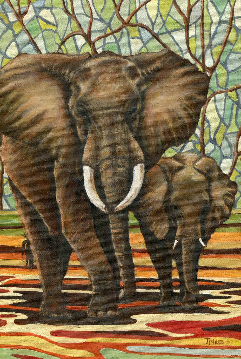 59b  Jenny Miles  Elephants  oil on canvas