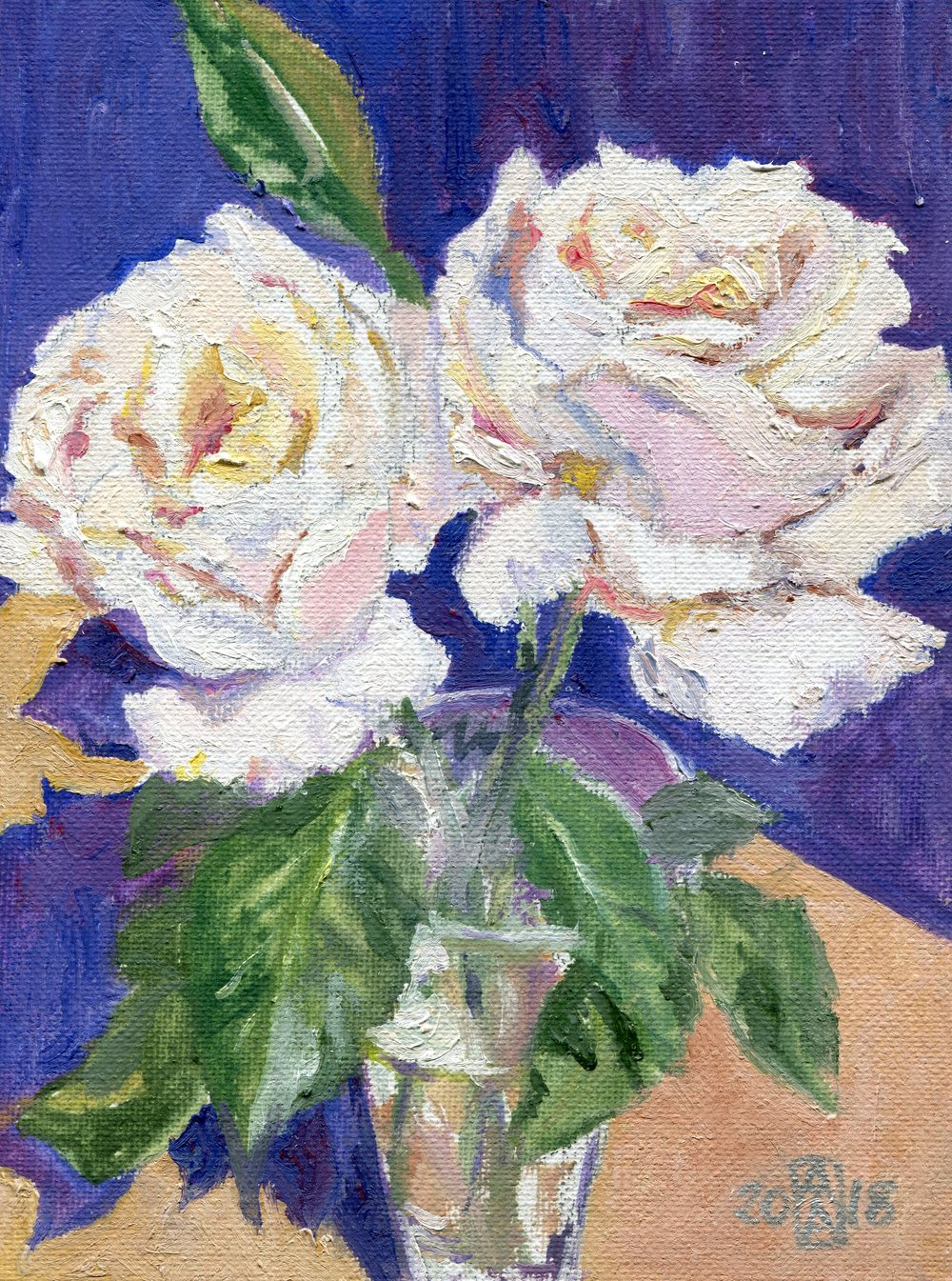 61a  Anne-Marie Atkins  Buttery blooms  oil on canvas panel