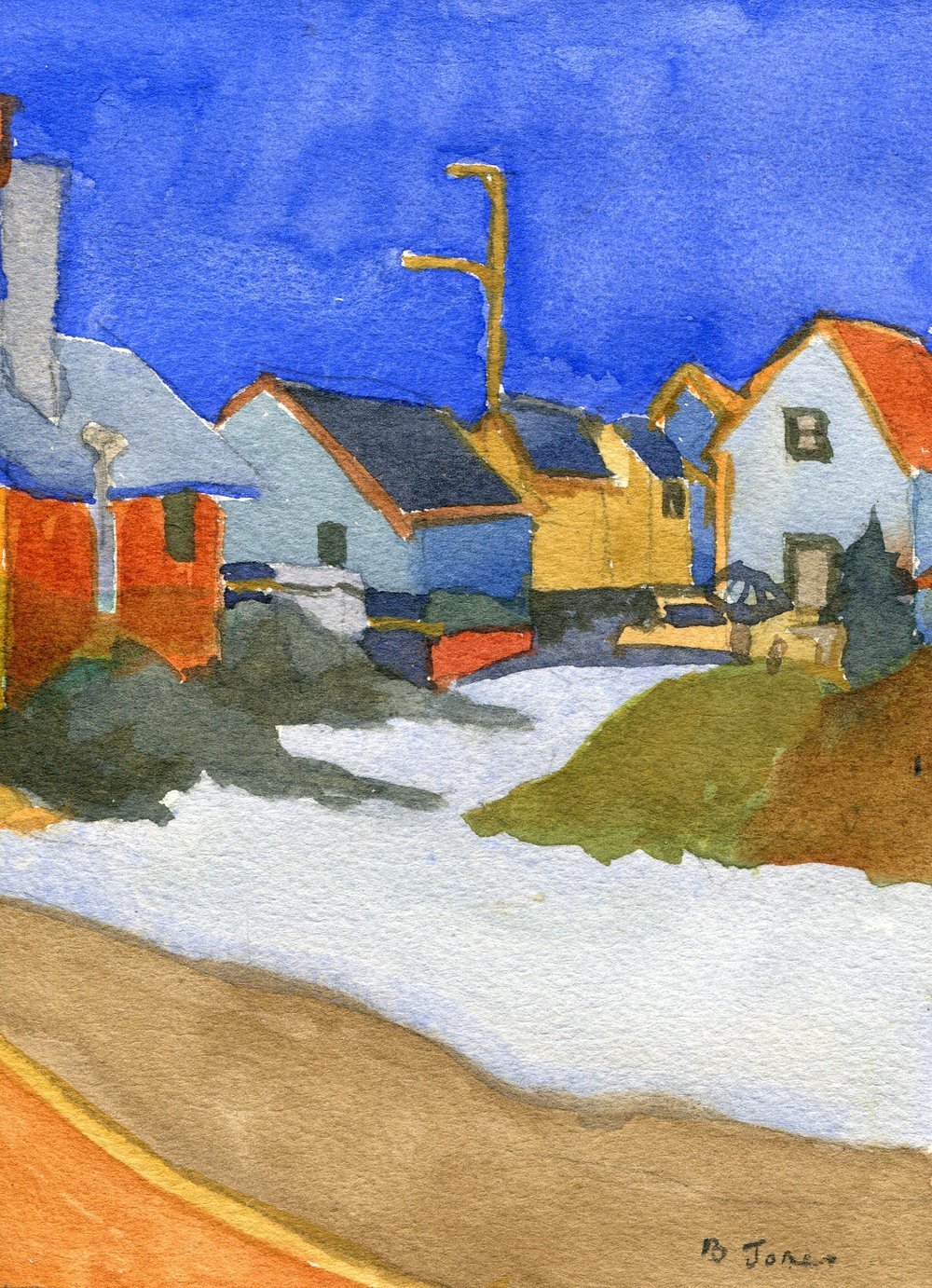 62c  Betty Jones  Village at Twilight  watercolour on paper