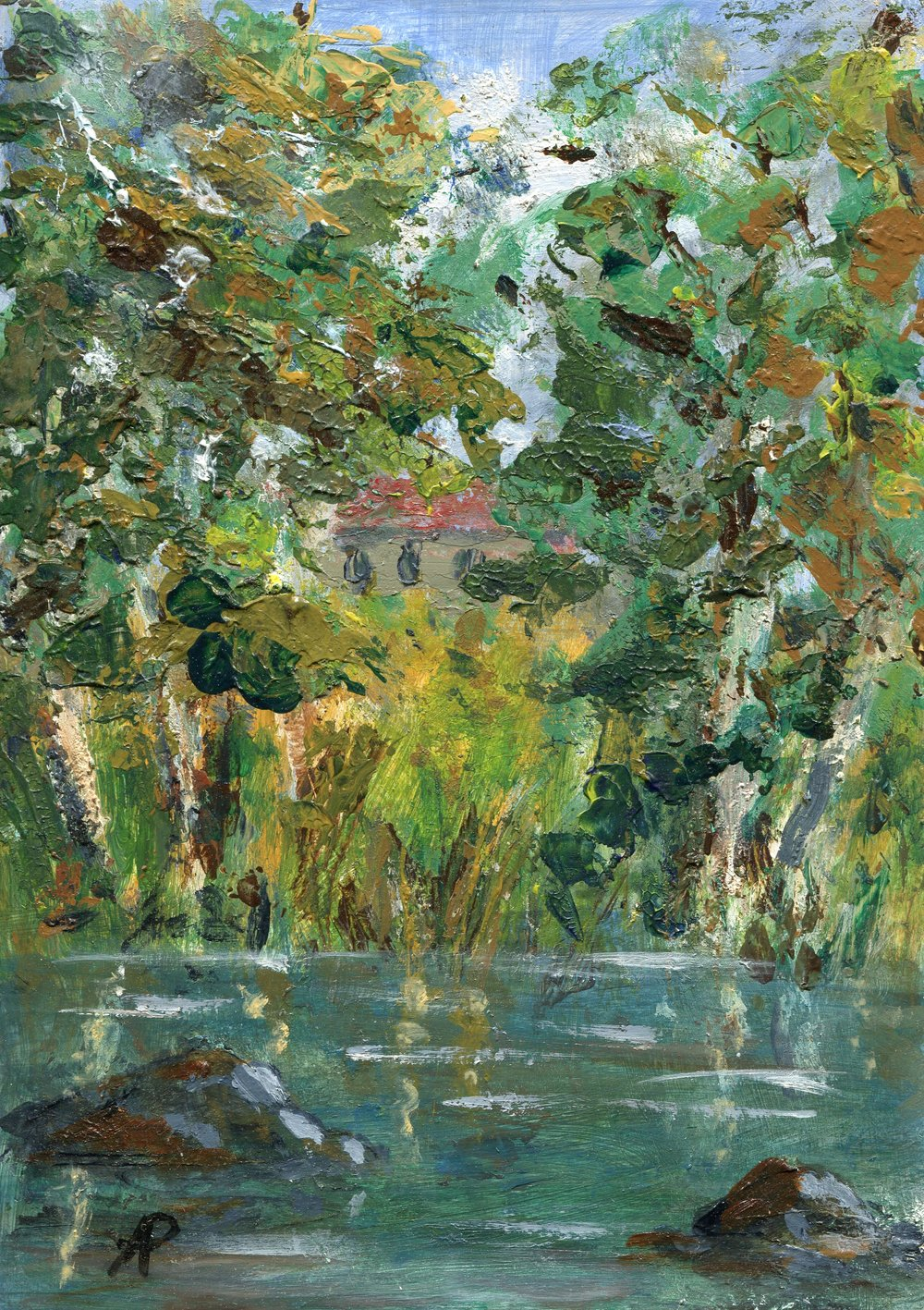 65a  Anna Pettifer  Gum trees at Umgeni river  oil on board