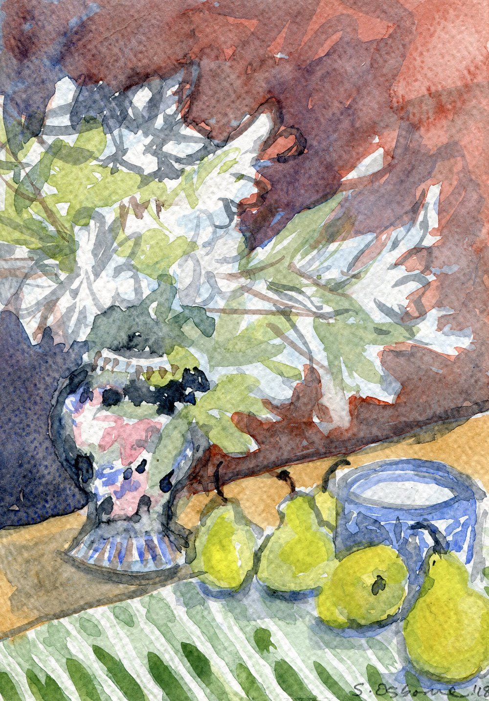 68a  Saskia Osborne  Still life with white azaleas  watercolour on paper