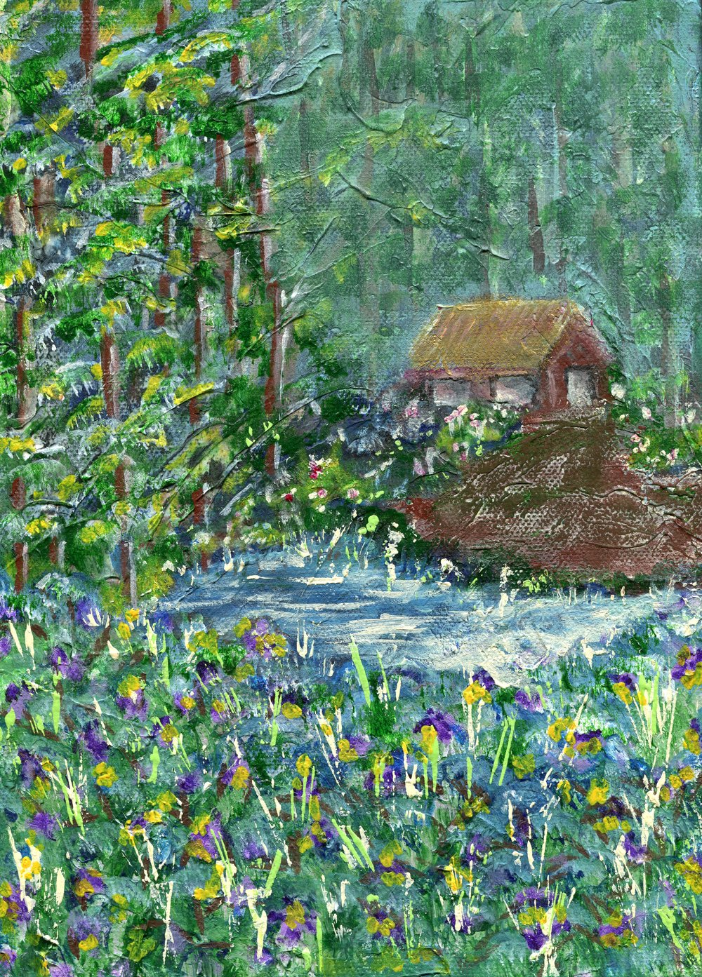 70b  Patricia McCann  Irises in the forest  acrylic on canvas