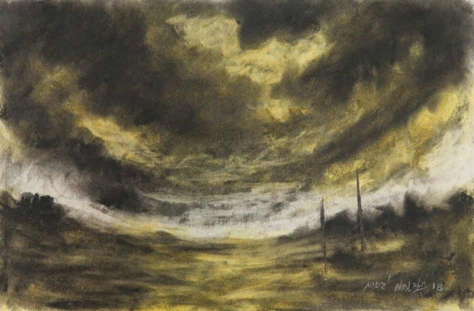 73a  Muzi Ndlela  A storm is coming 1  pastel and charcoal on paper