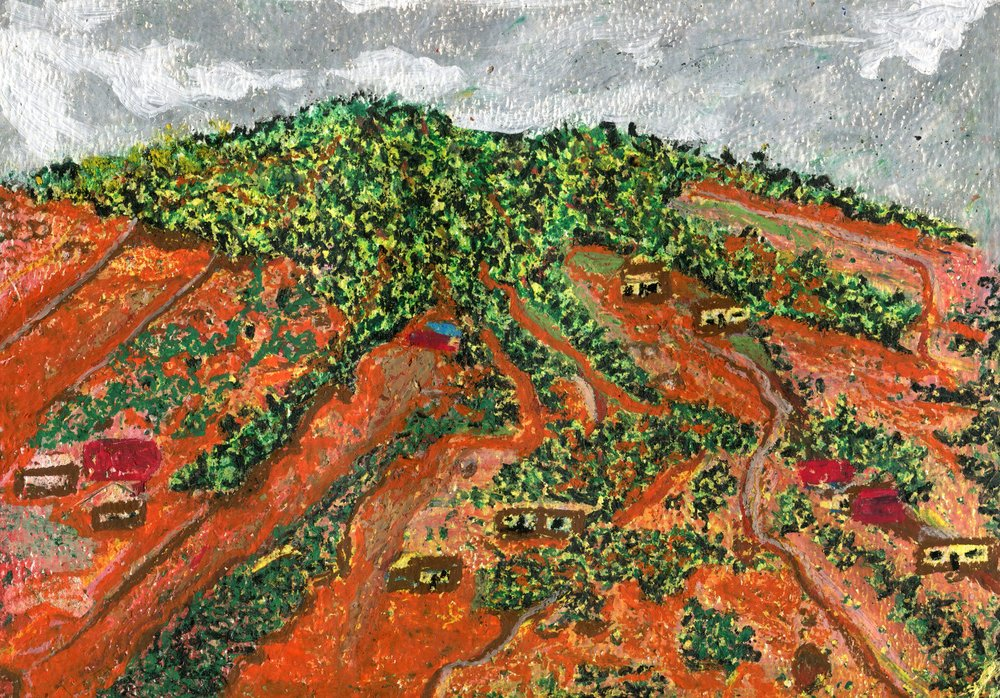 76b  Sanele Sikosana  Green veld  oil pastel on paper