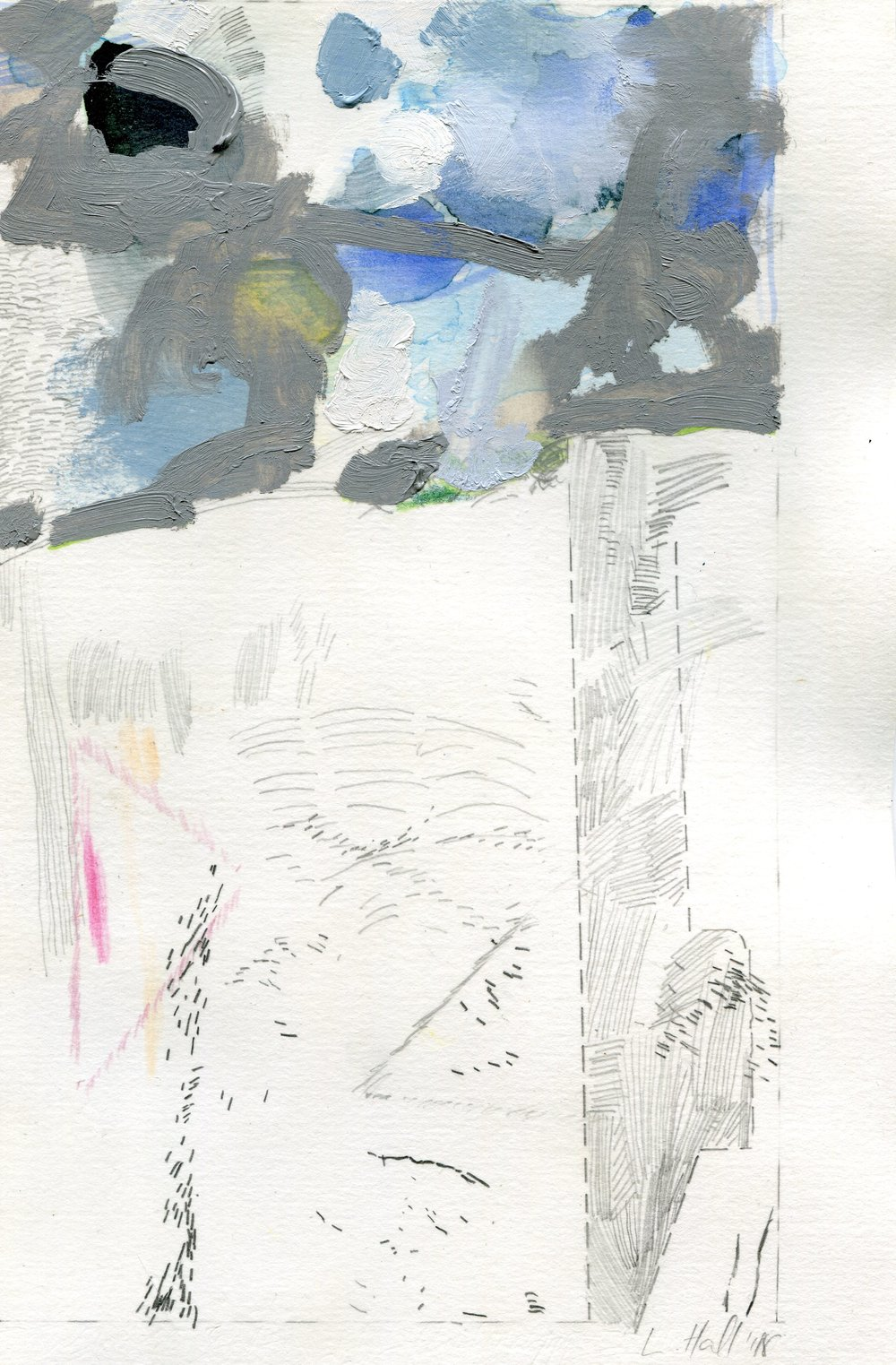 79a  Louise Hall  Transverse section of a landscape I  mixed media on paper