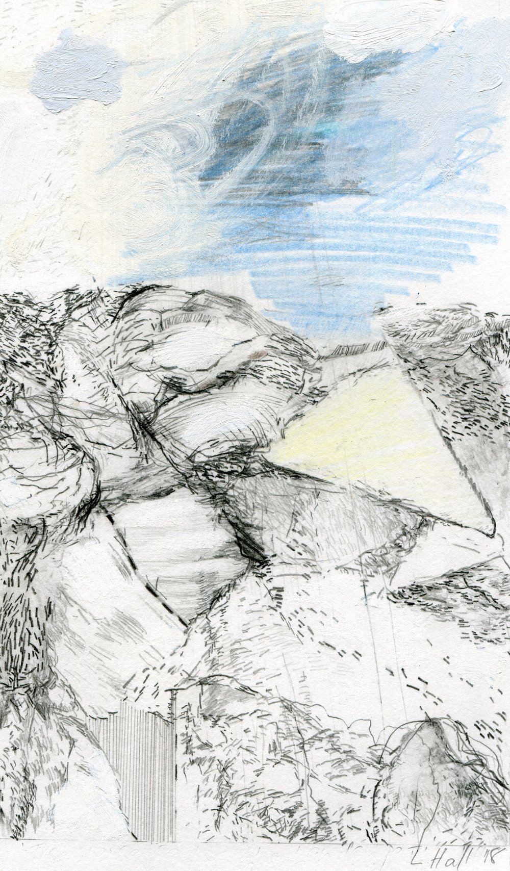 79b  Louise Hall  Transverse section of a Landscape II  mixed media on paper