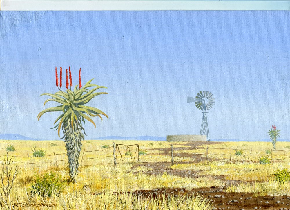 85a  Richard Tudor-Owen  Landscape with wind pump  acrylic on canvas board