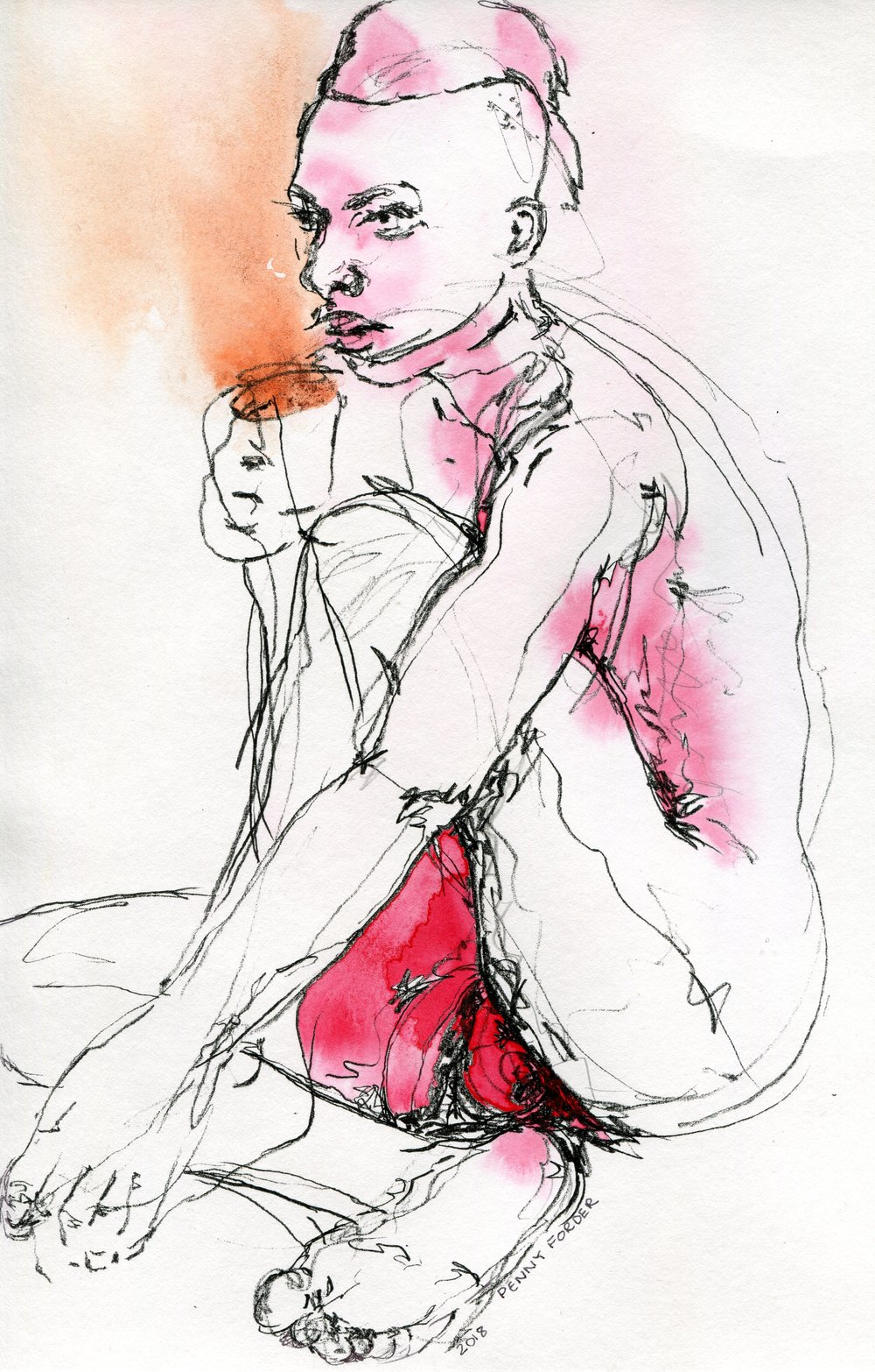 89b  Penny Forder  Contemplation with coffee  mixed media on paper