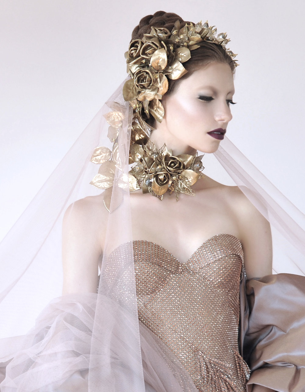 Bridal fashion.  Hair design by Betha HairCraft. Jewelry design by House of Cach. Makeup by Holly Dalton. Wardrobe by Jonathan Joseph Peters. Photo by Daniel Gagnon Photography