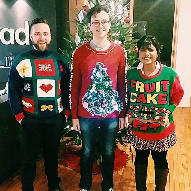 The most beautiful ugly Christmas sweaters. Happy last work day of 2015!