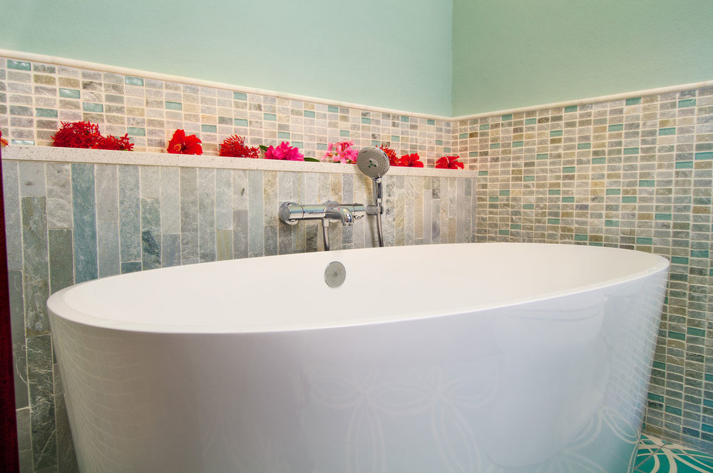 freestanding tub in the Oceanview bathrooms photography: Jim Scheiner -  Rainbow Visions