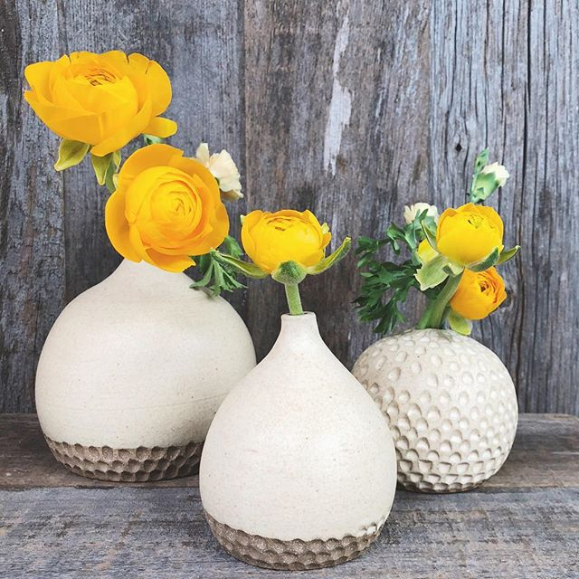Celebrating the long weekend with a little vase sale! Now 'til Monday night you can get 20% off ready to ship vases in my shop (link in bio)! Hope y'all have a great weekend 💛 . . .  #stoneware #budvase #potterylove #pottery #wheelthrown #carved #smallbatch #shopsmall #americanmade #maker #buyfolk #searchwandercollect #darlingmovement #makersmovement #thatsdarling #austinart #ranunculus #austinartist #madeintexas
