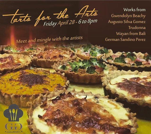 Next Friday, we have a date!  Come eat some quiches and tarts, have some wine and lots of fun!  Mingle with the artists whose work we have on display at G&G and enjoy a laid back evening.  6pm to 8pm.  We'll announce tart specials soon! --------------------------- El próximo viernes tenemos una cita!  Coman tartas dulces y saladas, beban vino y diviertanse!  Platiquen con los artistas cuyo trabajo tenemos exhibido en G&G y disfruten una noche relajada.  6pm a 8pm.  Anunciaremos los especiales de tartas pronto!  #art #food #quiche #tarte #sanjuandelsur #nicaragua #ggsanjuan