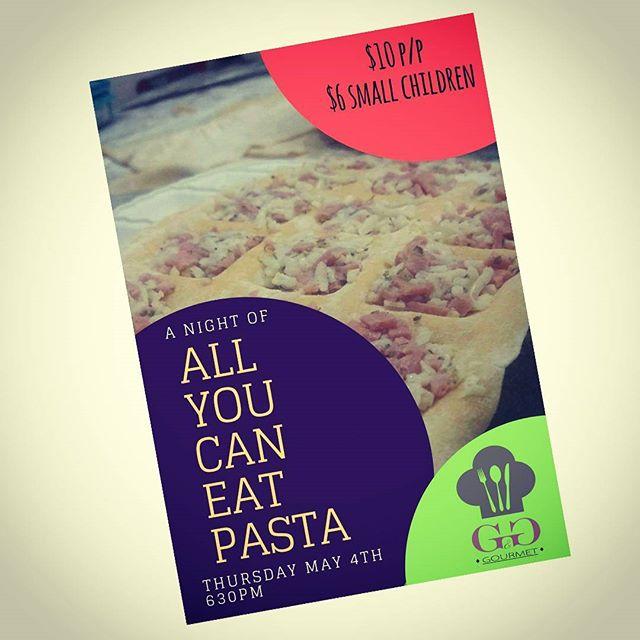 Tomorrow, come enjoy our monthly All You Can Eat Pasta!! #pasta #ggsanjuan #sanjuandelsur #nicaragua