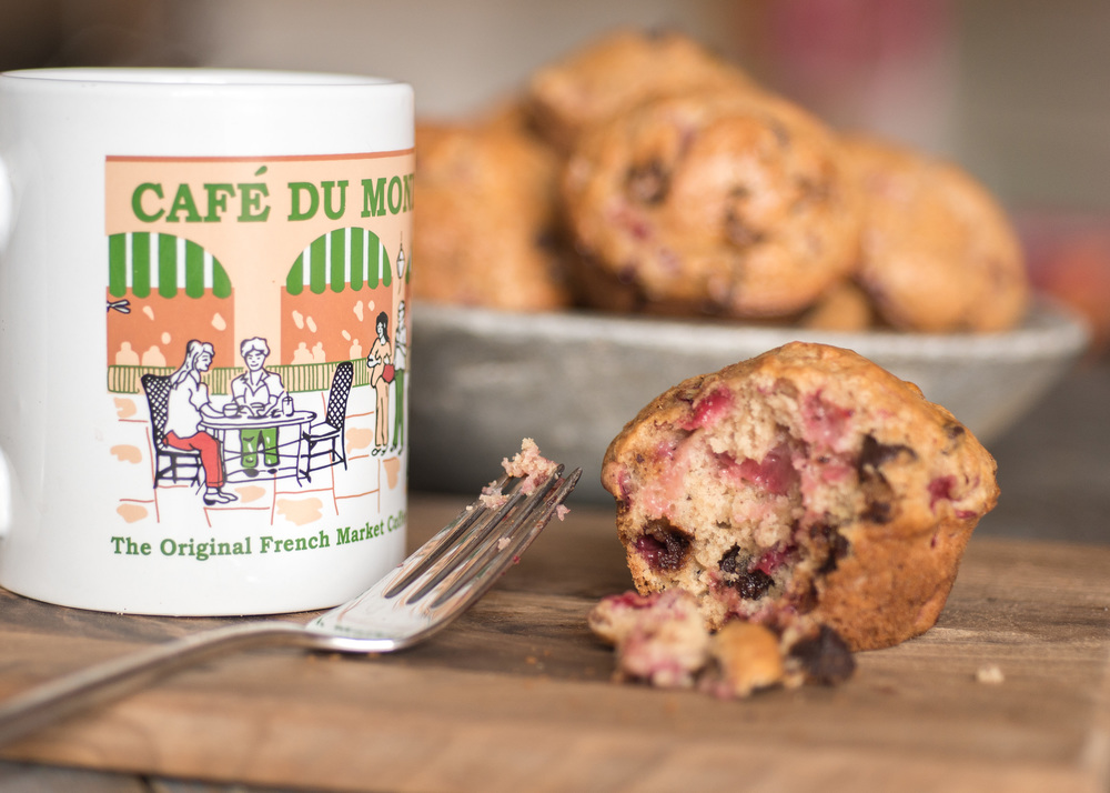 These muffins were amazing with a chai tea latte in my favorite Café Du Mond mug.