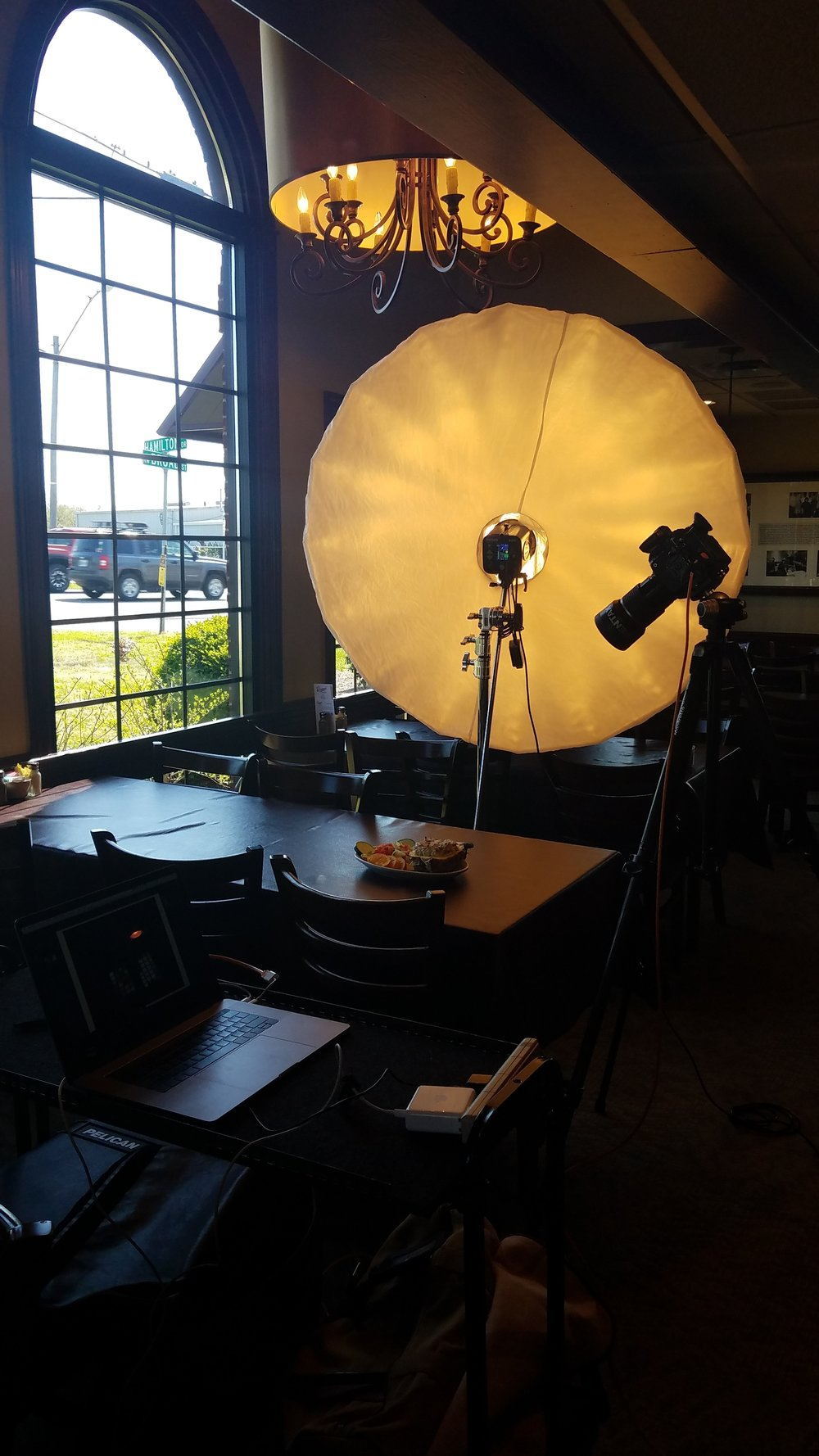 A little behind the scenes action showing my camera and lighting setup.