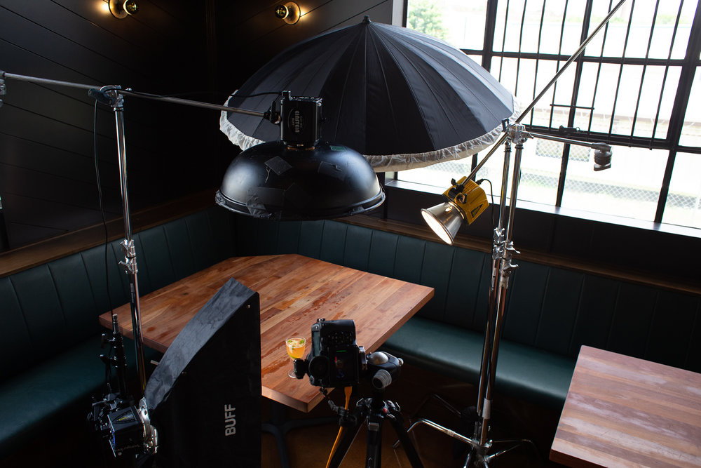 A great shot showing in detail the 4 lights that I used with the position of the drink and the camera.
