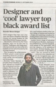 Evening Standard Press Feature of The Black British Business Awards 2015 - Featuring Marc Hare – Founder, CEO and Designer, Mr Hare and Tunde Okewale – Barrister, Doughty Street Chambers/Urban Lawyers