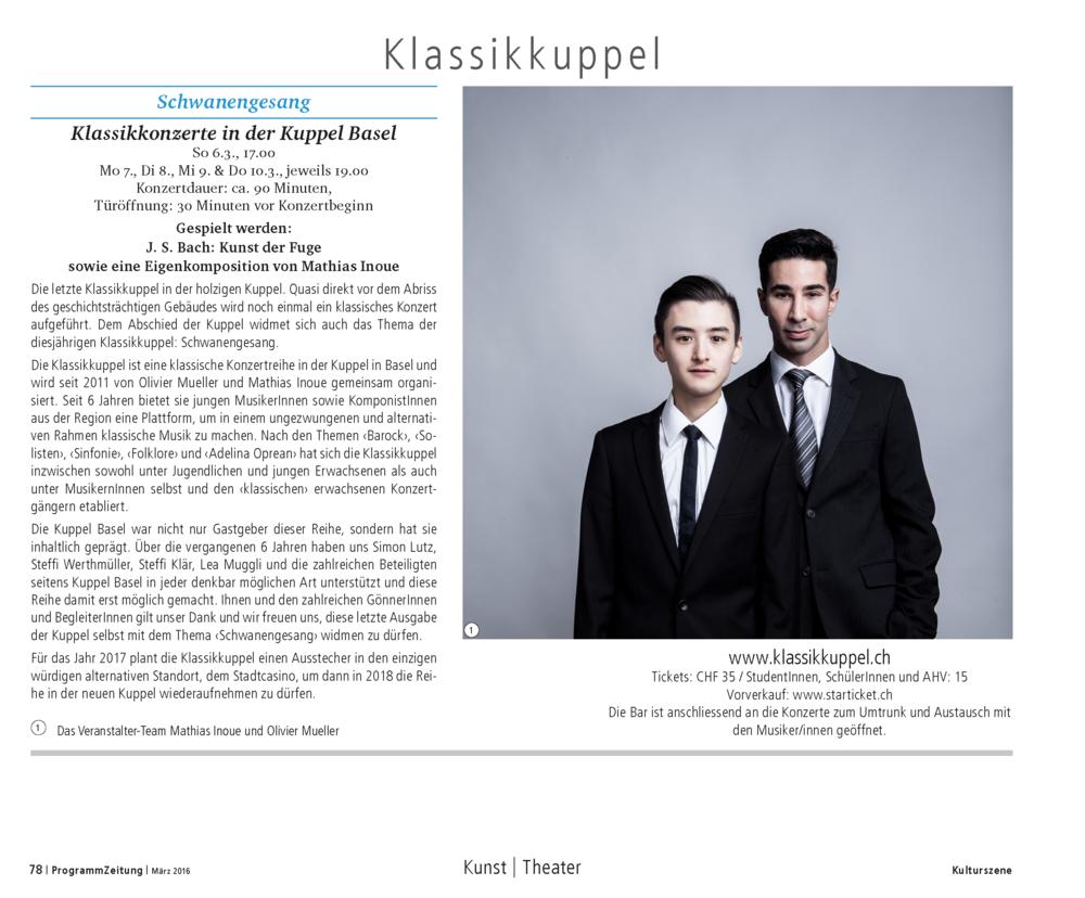 Klassikkuppel 2016_Programmzeitung_Olivier Mueller und Mathias Inoue