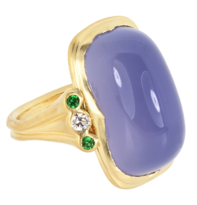 NAMIBIAN BLUE CHALCEDONY GOLD RING