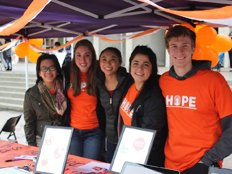 Raising awareness and finding allies towards prison reform during HOPE Hoopla. L-to-R:Vanessa Lim, Lia Musumeci, Taylor DeMotta, Dashni Amin, and Gavin White. Photo credit: May Lim.