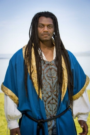 Former inmate Dameion Brown in costume as Othello for the Marin Shakespeare Company's 2016 performance of the play. Brown became involved in the company's Shakespeare for Social Justice program while in prison. (Photo courtesy Marin Shakespeare Company archives)