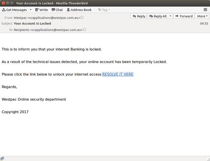 A sample email sent to Westpac customers (Source: MailGuard)