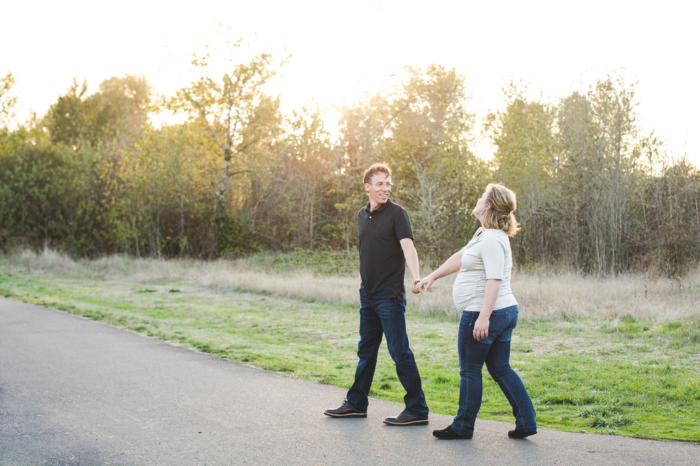 husband and walking together in the park