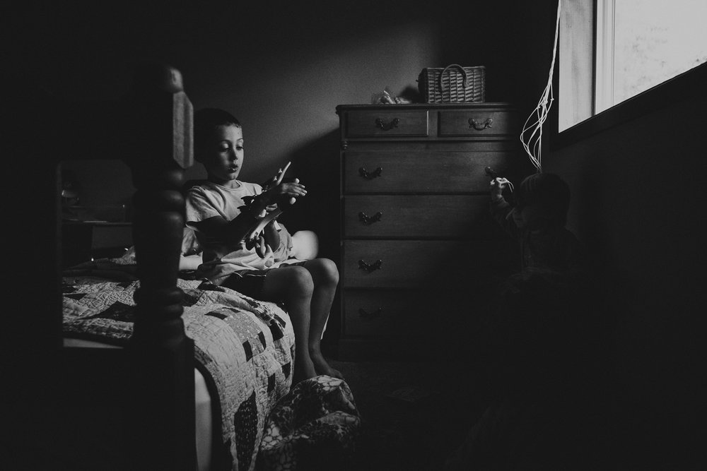 child playing in bedroom