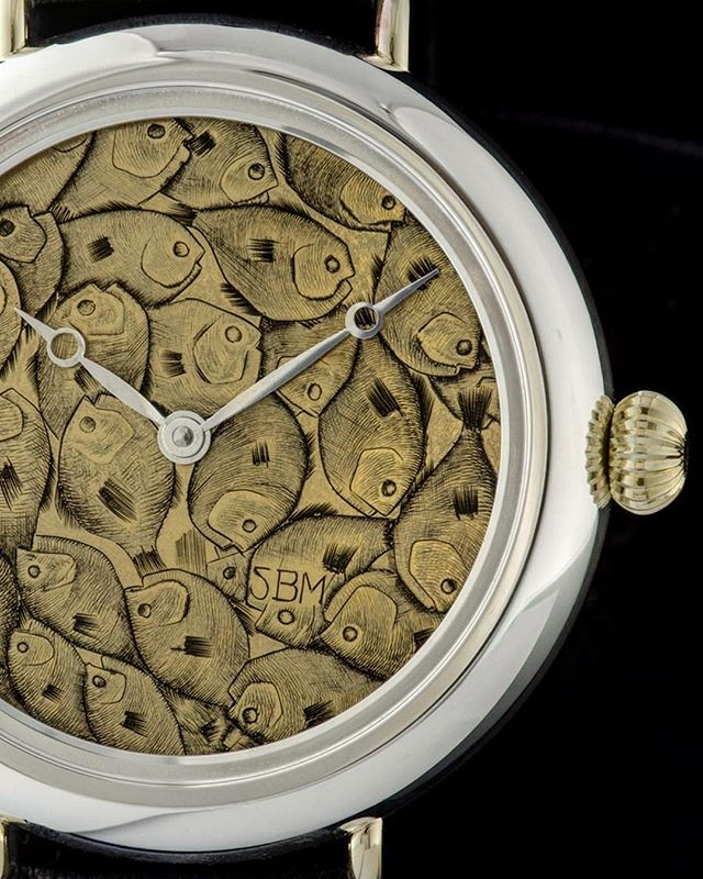 The Bait Ball Watch... dial design by @sethbminkin, Highline Aviator by @jeffreynashan,#timepieceenvy by everyone else. Enjoy this unique #watchoftheday . . #troutfishing #flyfishing #baitball #goldfish #chum #watches #engraved #handengraved #watchdial #microengraving #customwatch #bostonartist #instawatch #watchesofinstagram #metalart #wristbling #406 #yellowstoneriver #makersgonnamake #luxurywatch #wristcandy #watchuwant #watchuseek #watchuneed #fishgoals #timepiece