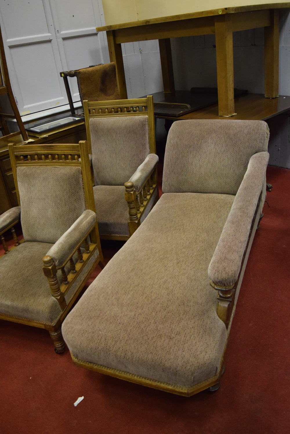 Edwardian chaise longue and matching chairs