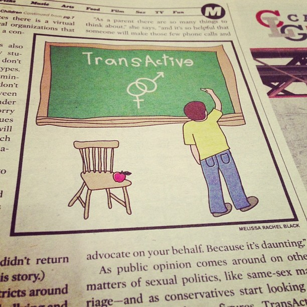 Illustration on transgender children and education for the Portland Mercury.