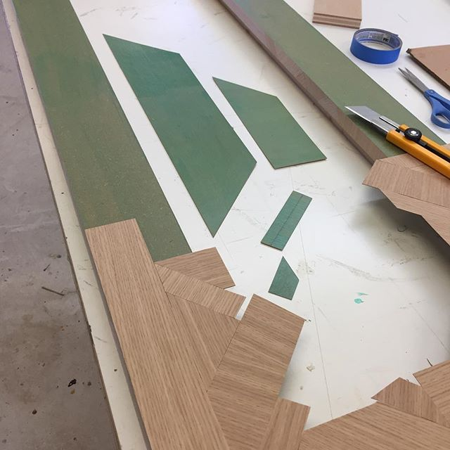 Finally working on some of my own pieces. First up: the Century Mirror Frame. A tall lean fellow with an attached shelf. The surface is random, intersecting pieces of rift sawn white oak veneer.  The inspiration for the design is the astoundingly complex interchange of the 110 and 105 freeways in LA. The 105 used to be called the Century freeway, ergo the name. #pregersoninterchange #bornandbuilt