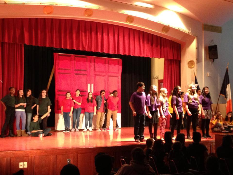 Students at IS 228 David A. Boody Junior High School performDragon Slayer the Musical