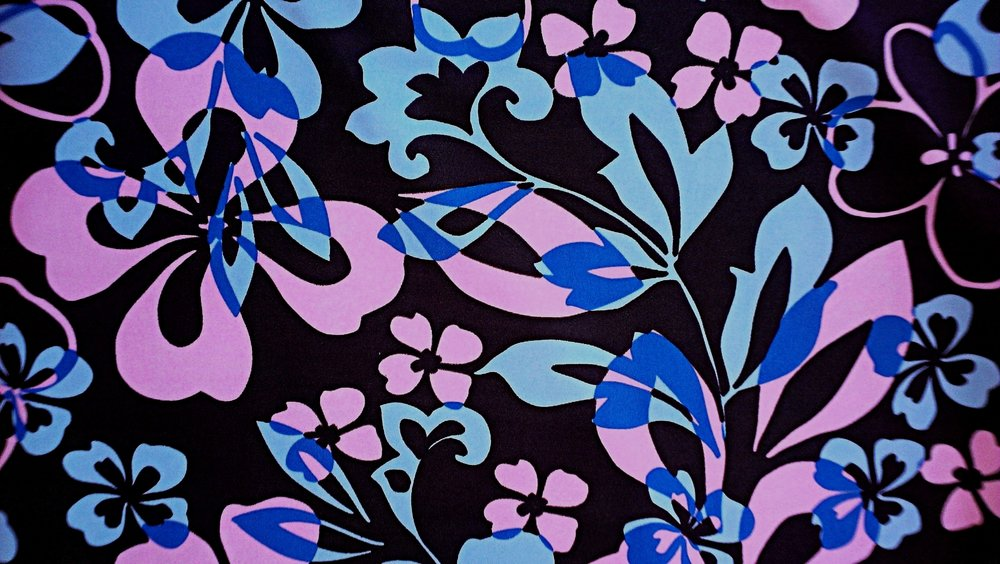 Pink/Blue Flowers on Chocolate