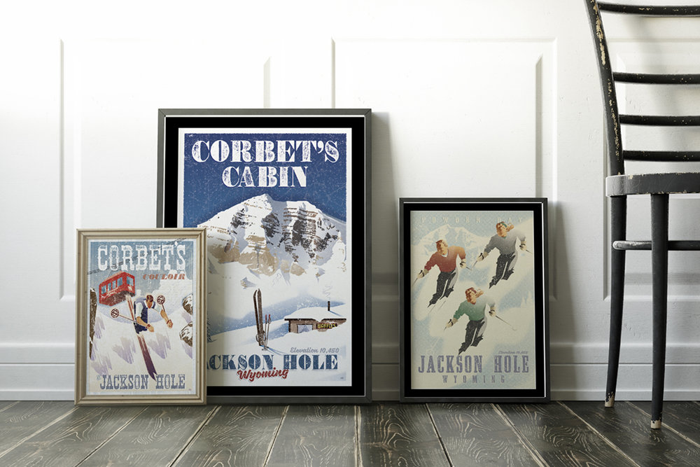 Vintage Jackson Hole Poster collection. FREE SHIPPING!