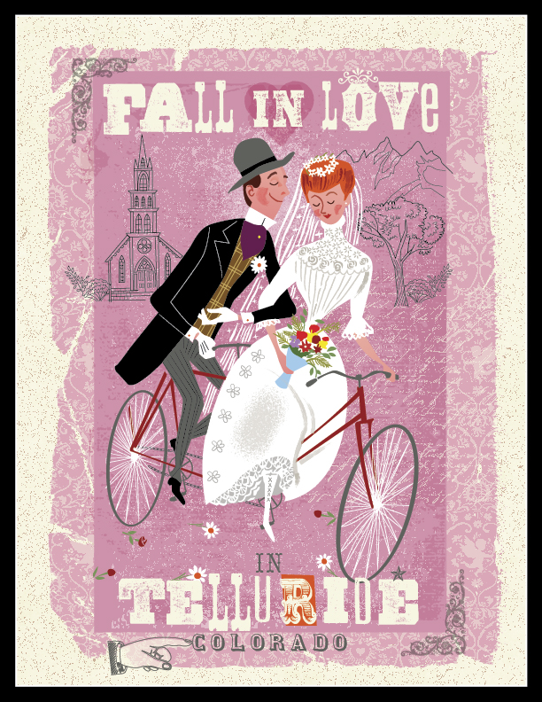 Modern/Vintage Archival Print on fine art paper! Remember when you Fell in Love in Telluride!