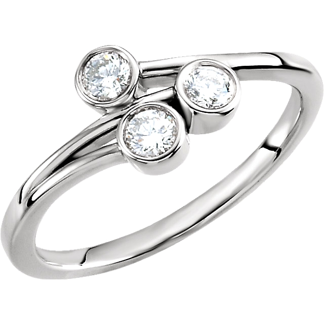 14K Wht 1/3 CTW Diamond 3-Stone Ring