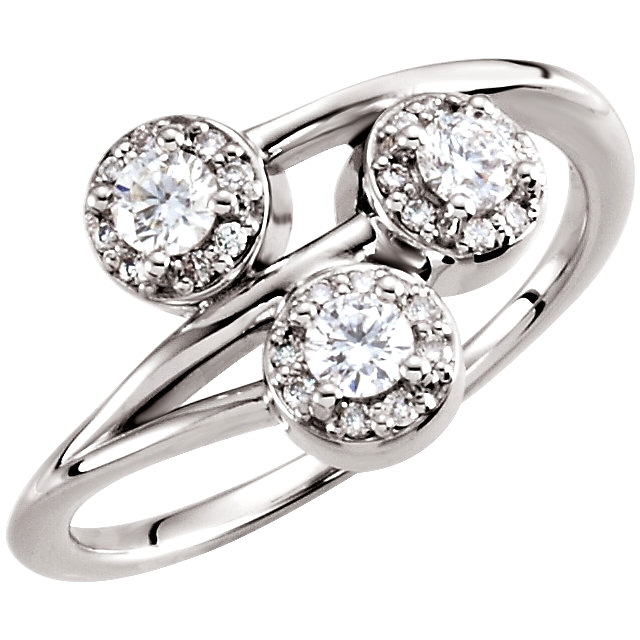 14K Wht 3/8 CTW Diamond 3-Stone Ring