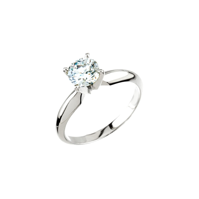 14K Wht 4-Prong Solitaire Ring