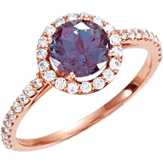 14kt Rose Chatham® Created Alexandrite & 3/8 CTW Diamond Ring