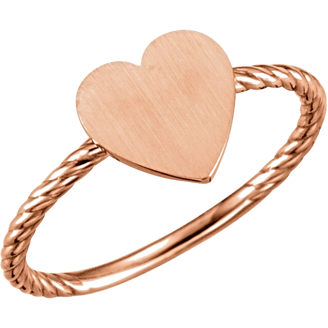 14kt Rose Heart Engravable Rope Ring