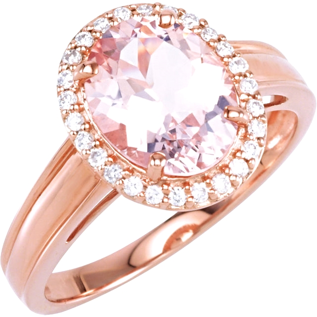 14kt Rose Morganite & 1/6 CTW Diamond Ring