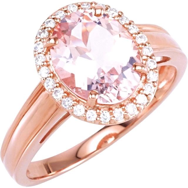 14kt Rose Morganite & 1/6 CTW Diamond Ring